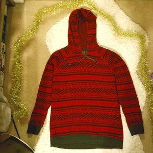 Icebreaker Meadow Fairisle Hooded Sweater - Red M